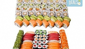 Апетитен Токио сет с 66 суши хапки със сьомга, пиле, сурими и вегетариански от Sushi King!