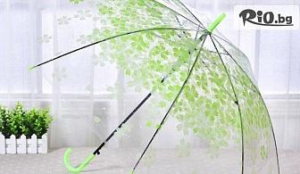 Автоматичен голям дамски чадър за дъжд - прозрачен с принт на цветя, от Svito Shop