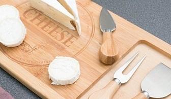 Бамбукова дъска с ножове за сирена (4 части)