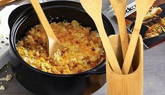 4 бамбукови прибора за готвене и поставка