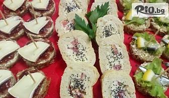 150 броя хапки Комбиниран микс от сладки и солени изкушения + БОНУСИ, от Handamp;D catering