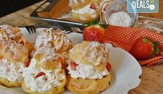 """100 броя хапки """"Романтична Франция"""" - мини кроасан сандвич, тарталети и сладки еклери от Kулинарна работилница Деличи"""