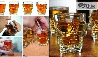 4 броя нестандартни стъклени шот череп чашки за ракия с различен и уникален 3D дизайн, от Svito Shop