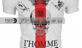 Бяла Мъжка Тениска Череп с Камъни Ft6209