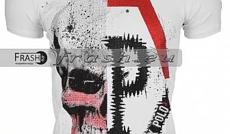 Бяла Мъжка Тениска Череп с Камъни Ft6208