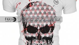 Бяла Мъжка Тениска Череп с Камъни Ft6187