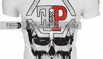 Бяла Мъжка Тениска Череп с Камъни Ft6189