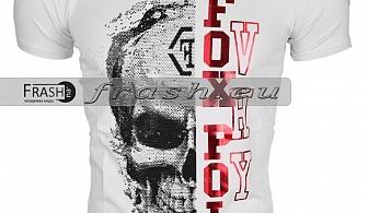 Бяла Мъжка Тениска Череп с Камъни Ft6185