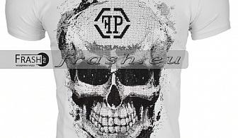 Бяла Мъжка Тениска Череп с Камъни Ft6179