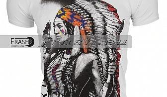 Бяла Мъжка Тениска Индианец с Камъни Ft6205