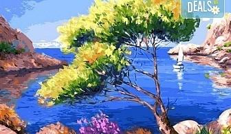 """3 часа рисуване на """"Лазурен бряг"""" на 29.03. с напътствията на професионален художник, чаша вино и вода в Арт ателие Багри и вино"""