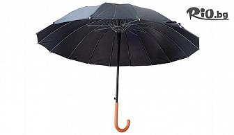Черен класически автоматичен чадър за дъжд, от Svito Shop