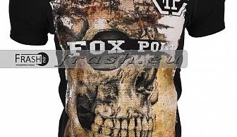 Черна Мъжка Тениска Череп с Камъни Ft6202