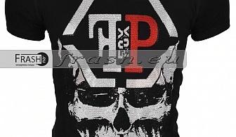Черна Мъжка Тениска Череп с Камъни Ft6188