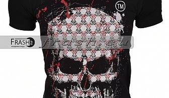 Черна Мъжка Тениска Череп с Камъни Ft6186