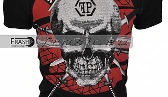 Черна Мъжка Тениска Череп с Камъни Ft6182