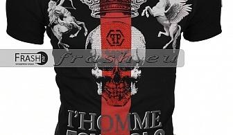 Черна Мъжка Тениска Череп с Камъни Ft6181