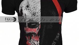 Черна Мъжка Тениска Череп с Камъни Ft6180