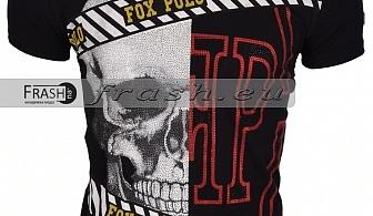 Черна Мъжка Тениска Череп с Камъни Ft6177