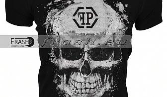 Черна Мъжка Тениска Череп с Камъни Ft6178