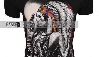 Черна Мъжка Тениска Индианец с Камъни Ft6204