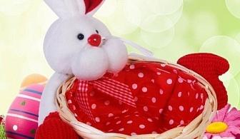 Червена великденска кошница за яйца - заек