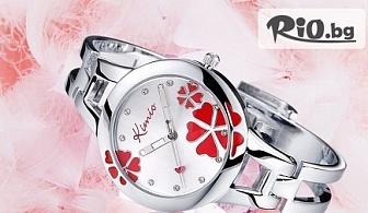 Дамски часовник Kimio Flawer Heart с кристали на Swarovski в елегантна кутийка с 60% отстъпка за 19.90лв, от Donbaron.bg