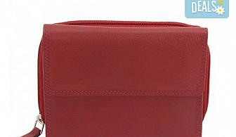 Дамско портмоне на Friedrich от естествена кожа в червен цвят и RFID защита за безконтактни кредитни карти!