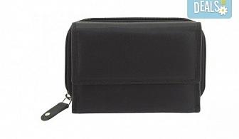 Дамско портмоне на марката Friedrich от естествена кожа в черен цвят и RFID защита за безконтактни кредитни карти!