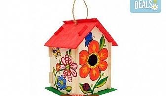 Дървена къщичка за птички - комплект за оцветяване с боички и четка за рисуване от Podobro.com!