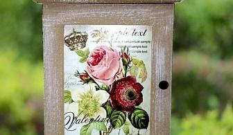 Дървена кутия за ключове с цветя
