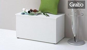 Дървена пейка с ракла Hocki 2, в бял цвят