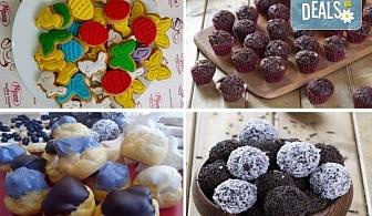"""За децата! Сладък сет """"Детско парти""""с 80 сладки асорти: цветенца, пеперуди или колички, шоколадови топки, мъфини, еклери с крем за детски рожден ден от Muffin House!"""