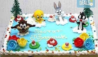 Детска торта от пандишпан с пресни яйца и ванилов и шоколадов мус с безплатен надпис и кутия, от майстор сладкарите на сладкарница Сладост!