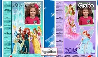 Детски календар за 2018г с анимационни герои и място за снимка - еднолистен или многолистен