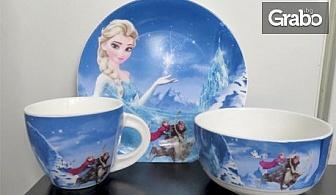 """Детски порцеланов сервиз с Елза от """"Замръзналото кралство"""" - чиния, чаша и купичка"""