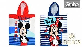 Детско хавлиено пончо с картинка по избор - McQueen, Мики на плаж или Мини на плаж