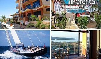 Еднодневен пакет със закуска или закуска и вечеря и разходка с яхта в Хотел Пенелопе***, Приморско