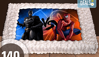 Експресна торта от днес за днес! Голяма детска торта 20, 25 или 30 парчета със снимка на любим герой от Сладкарница Джорджо Джани!