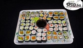 Екзотичен вкус! Суши сет от 66, 76 или 100 различни видове хапки с доставка за вкъщи, от Суши Маркет