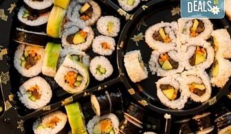 Екзотично, вкусно и на добра цена! Възползвайте се от апетитното предложение на Sushi House, суши сет - 84 хапки, красиво аранжирани и готови за сервиране!
