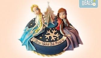 """Елза и Анна! Тематична 3D торта """"Замръзналото кралство"""" от 12 до 37 парчетата - кръгла, голяма правоъгълна или триизмерна кукла Елза от Сладкарница Джорджо Джани!"""