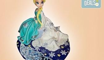 """Елза и Анна! Тематична 3D торта """"Замръзналото кралство"""" от 12 до 37 парчетата - кръгла, голяма правоъгълна или триизмерна кукла Елза от Сладкарница Джорджо Джани"""