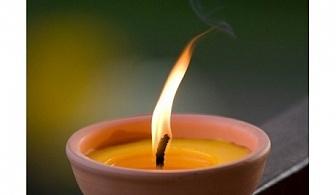 Голяма свещ цитронела в глинена поставка