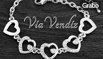 """Гривна """"Нежно сърце""""със сребърно покритие и австрийски кристали"""