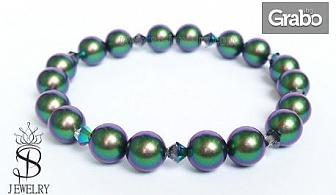 Гривна Scarabaeus Green с перли и кристали Swarovski