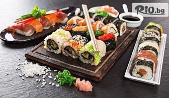 Хапни вкусно! Суши сет от 64, 76 или 100 различни видове хапки с доставка за вкъщи, от Суши Маркет
