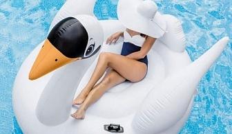 Intex надуваем остров Мега Лебед