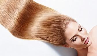 Кажете край на изтощената коса! Възстановяваща терапия + оформяне със сешоар в Студио за красота Мелима, кв.Изток!