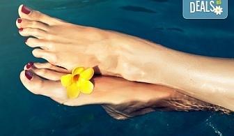 Класически педикюр с лакове SNB или гел лакове Kiara Sky в цвят по избор, Бонус: две красиви декорации, сваляне на стар гел лак и масаж на ходилата от Nail Salon Desire!